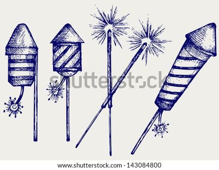 Fireworks. Doodle style. Raster version