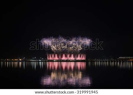 Fireworks explode above the stadium during the Closing Ceremony for the Baku 2015 European Games. One of three available images taken from this viewpoint on 28 June, 2015.