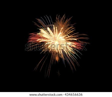 Fireworks explode, fireworks on black background, texture. Beautiful fireworks, fireworks background,isolated #434656636