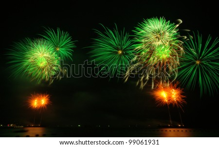 Fireworks exploding over the bay