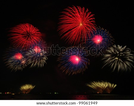 Fireworks exploding over the bay - stock photo
