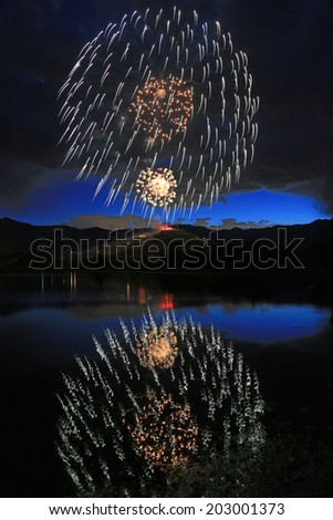 Fireworks fill the night sky on the fourth of July, Midway, Utah, USA.