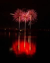 Fireworks in Czech republic in Pilsen