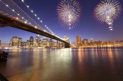 Fireworks in downtown Manhattan