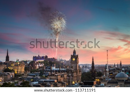 Fireworks in Edinburgh Castle at sunset