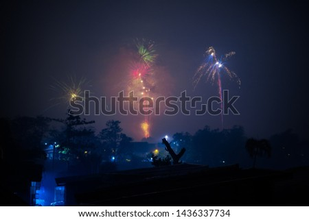 Fireworks in new years eve the Philippines.