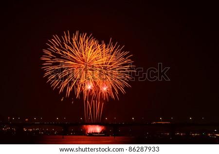 fireworks in seoul - stock photo