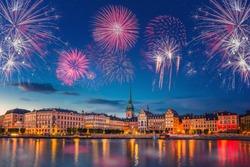 Fireworks in Stockholm (Sweden) during New Year's celebration