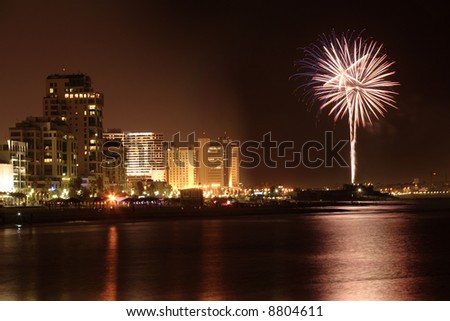Fireworks in Tel Aviv beach
