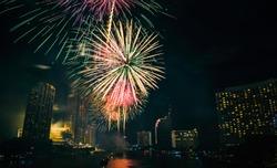 fireworks in the night city Bangkok Thailand.