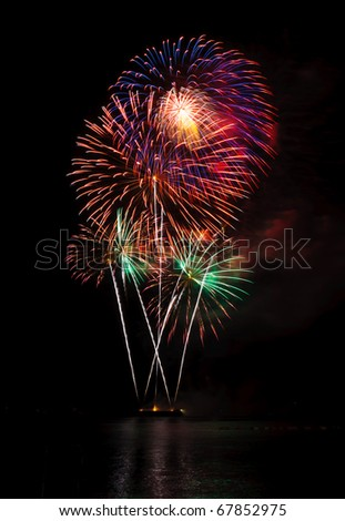 Fireworks in the sea at Pattaya beach, Thailand