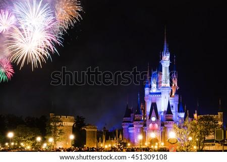 fireworks in tokyo disney #451309108