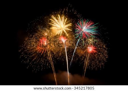 Fireworks light up the sky,New Year celebration.
