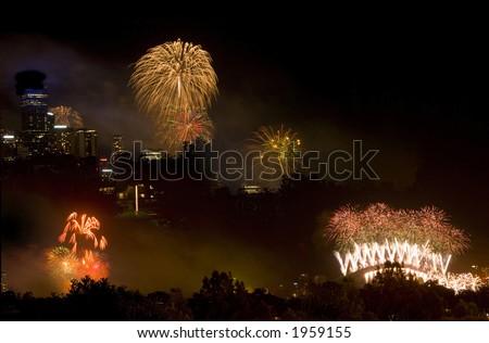 Fireworks montage Sydney New Years Eve