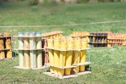 fireworks mortar tubes set up in field