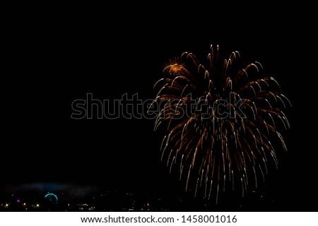 Fireworks of the festivities of Bouzas, in Vigo (Spain) on a beautiful summer night