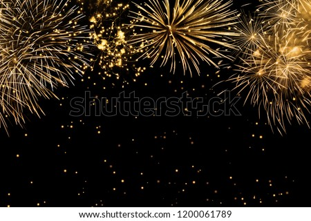 fireworks on black background, frame or border from golden sparks and firecrackers isolated