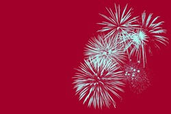 Fireworks on Red Background