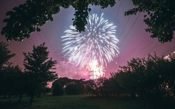 Fireworks on the background of the park. End of the year in metropolice. Holiday in the city. Pyrotechnic show
