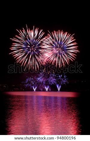 Fireworks on the night sky.
