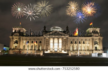 Fireworks over Berlin Parliament (Reichstag), Germany