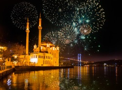 Fireworks over Bosphorus Strait during 90th anniversary of the Republic of Turkey celebrations