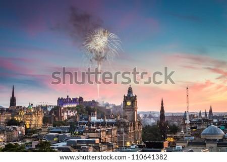 Fireworks over Edinburgh Castle during the Military Tattoo
