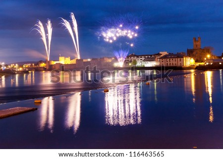 Fireworks over King John Castle in Limerick