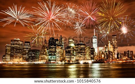 Fireworks over New York City skyline
