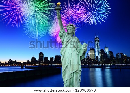 Fireworks over New York City skyline and Statue of Liberty, NYC, USA