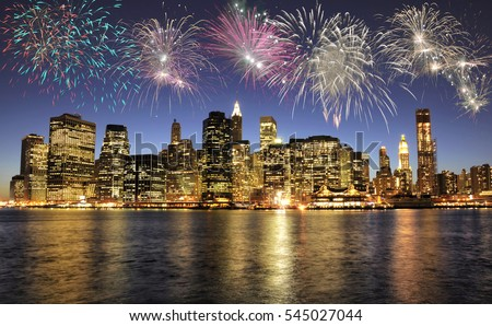 Fireworks over New York City skyline, USA #545027044