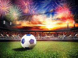 Fireworks over soccer stadium as final win game