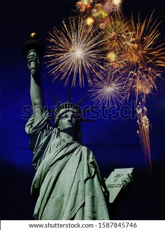 Fireworks over Statue of Liberty, New York, United States of America