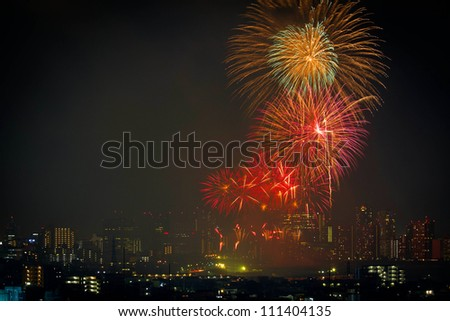 Fireworks over the buildings in Tokyo #111404135