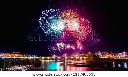 Fireworks over the river Guadiana  in Badajoz, Spain
