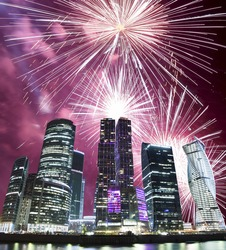 Fireworks over the Skyscrapers International Business Center (City) at night, Moscow, Russia