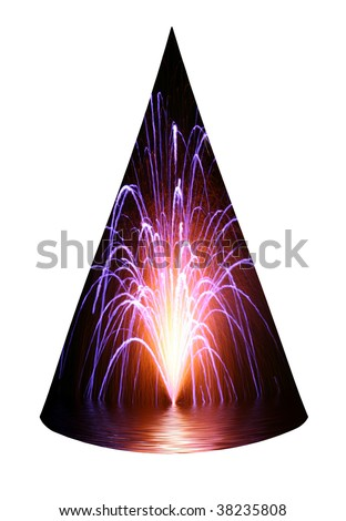 Fireworks over water party hat isolated on white background