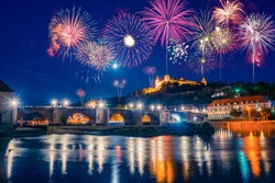 Fireworks panorama of Wurzburg in Bavaria, Germany, view of the Marienberg Fortress