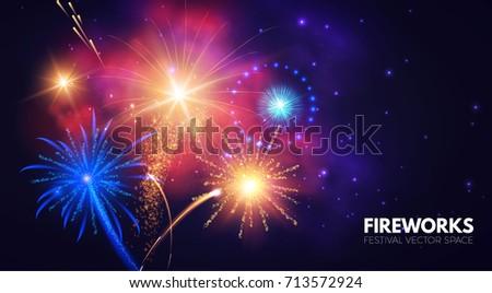 Fireworks. Shining Background. Vector illustration - Shutterstock ID 713572924