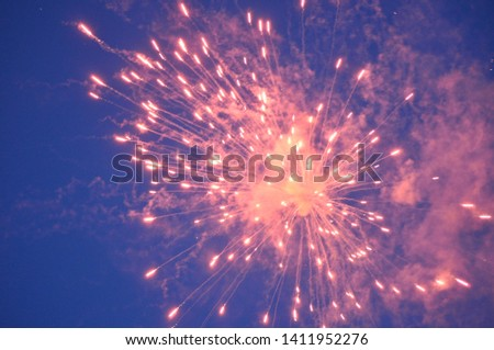 Fireworks showing off their explosive colors. #1411952276