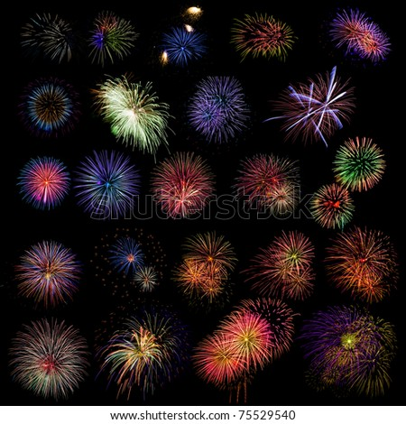 fireworks variety pack isolated on black background. - stock photo