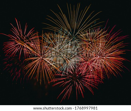 Fireworks with a dark black background. Bright beautiful colorful fireworks. Colored firework lights in the night sky. Fourth of July fireworks. Freedom. Firework concept. Firework night.