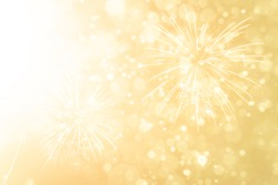 Fireworks with Abstract bokeh background yellow