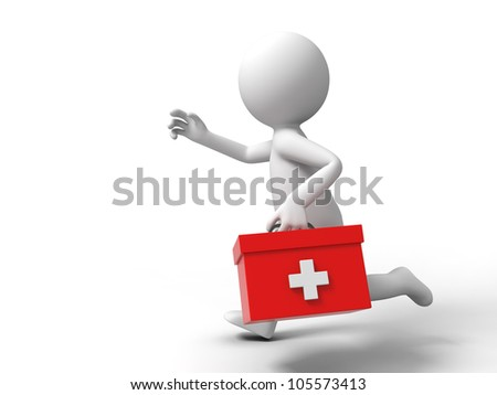 first aid/A man ran to the first aid