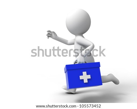 first aid/A man ran to the first aid