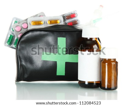 First aid bag, isolated on white