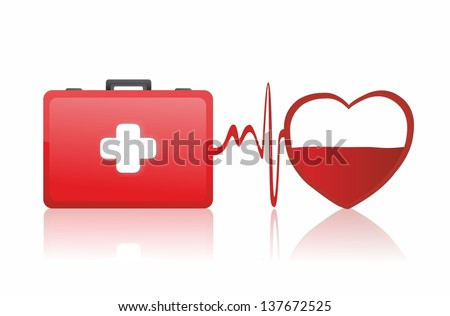 first aid box and medical heart