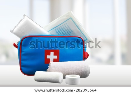 First Aid Kit, First Aid, Adhesive Bandage.