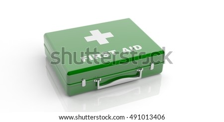First aid kit. Green first aid box isolated on white background. 3d illustration