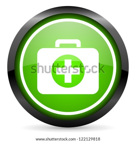 first aid kit green glossy icon on white background